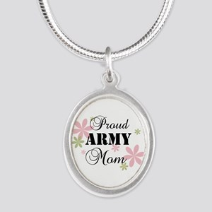 Army Mom [fl] Silver Oval Necklace